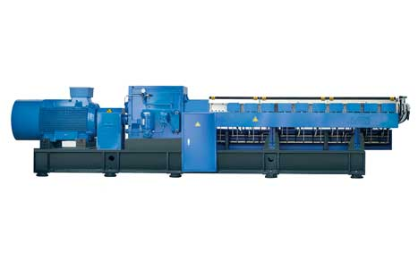 Cartridge heating and double cooling twin screw extruder